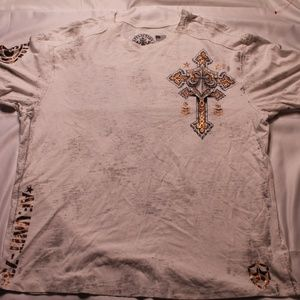 affliction 3x-large white t shirt gold cross